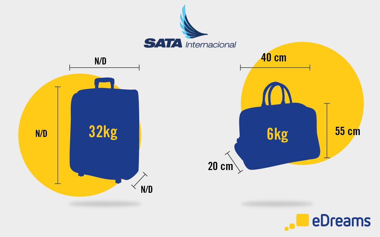 Medidas e peso de bagagem SATA