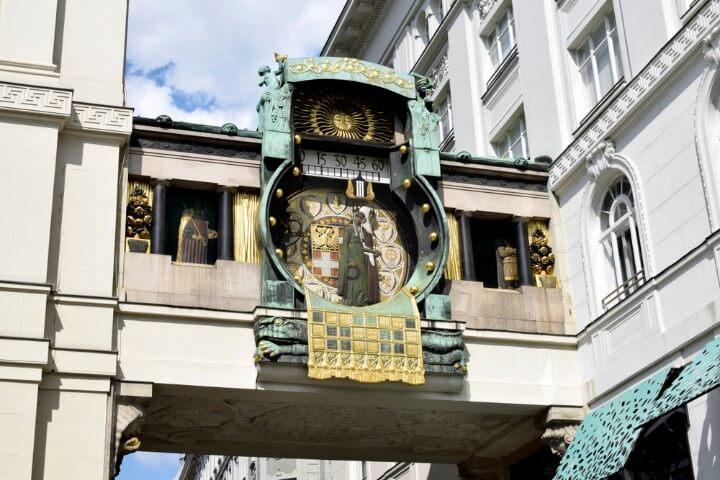 relógio Anker no mercado Hoher Markt em viena - áustria