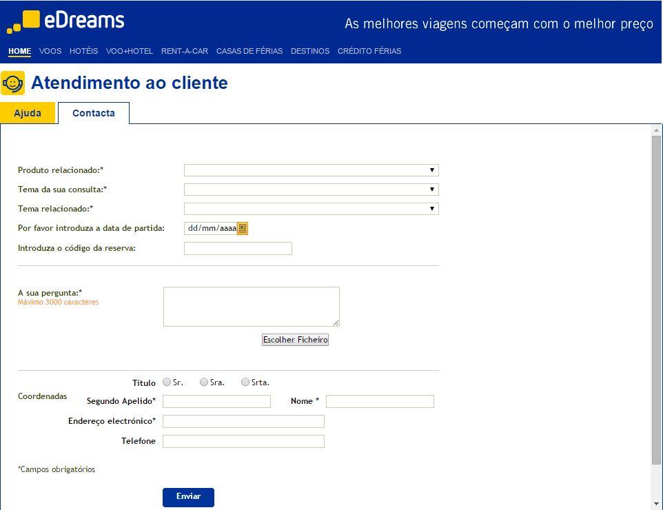 Formulario de contacto eDreams