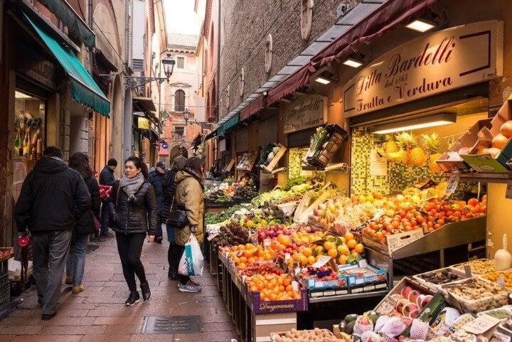 Quadrilátero-Mercado Velho em bolonha itália