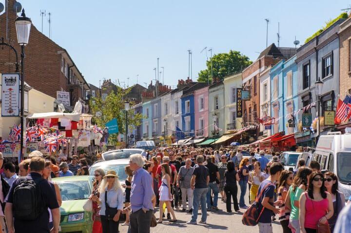 Mercado de Portobello em Londres