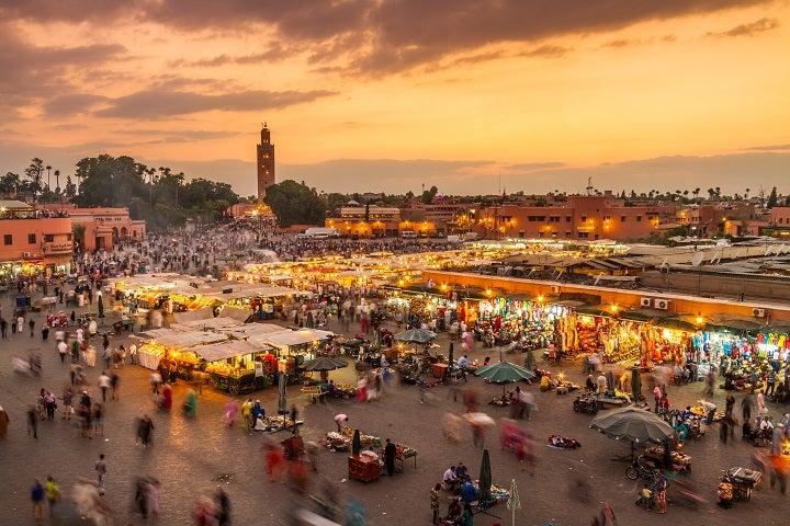 Final del dia en la Plaza Jemaa El Fna, Marruecos